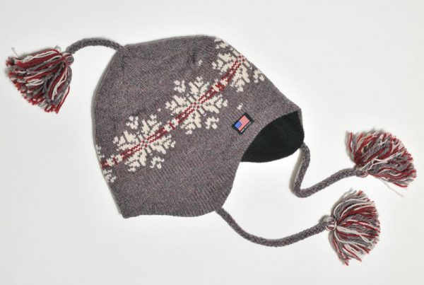 Llama Lo Wool Hat with Flaps and Made in the USA Flag Detail