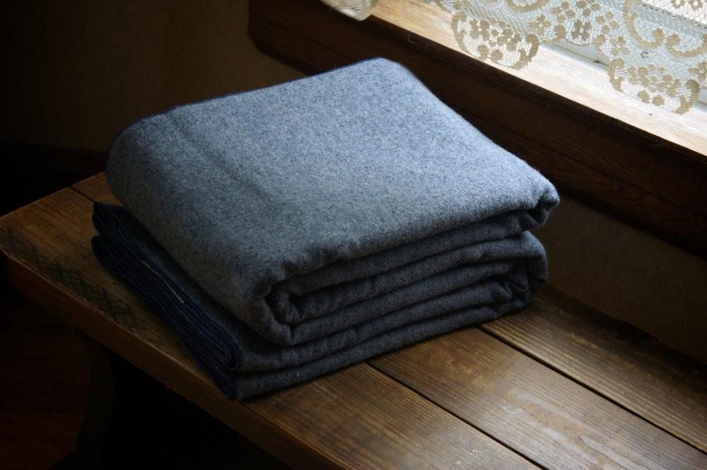 Llama Lo 100% Wool Blue Blanket