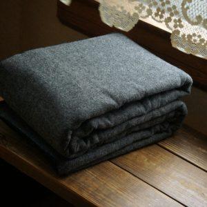 Llama Lo 100% Wool Charcoal Blanket